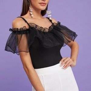 Mesh Ruffle Stretchy Fitted blouse